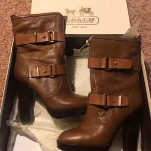 Coach Boots - tan with gold hardware